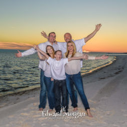 Fort Morgan family beach portraits sunset